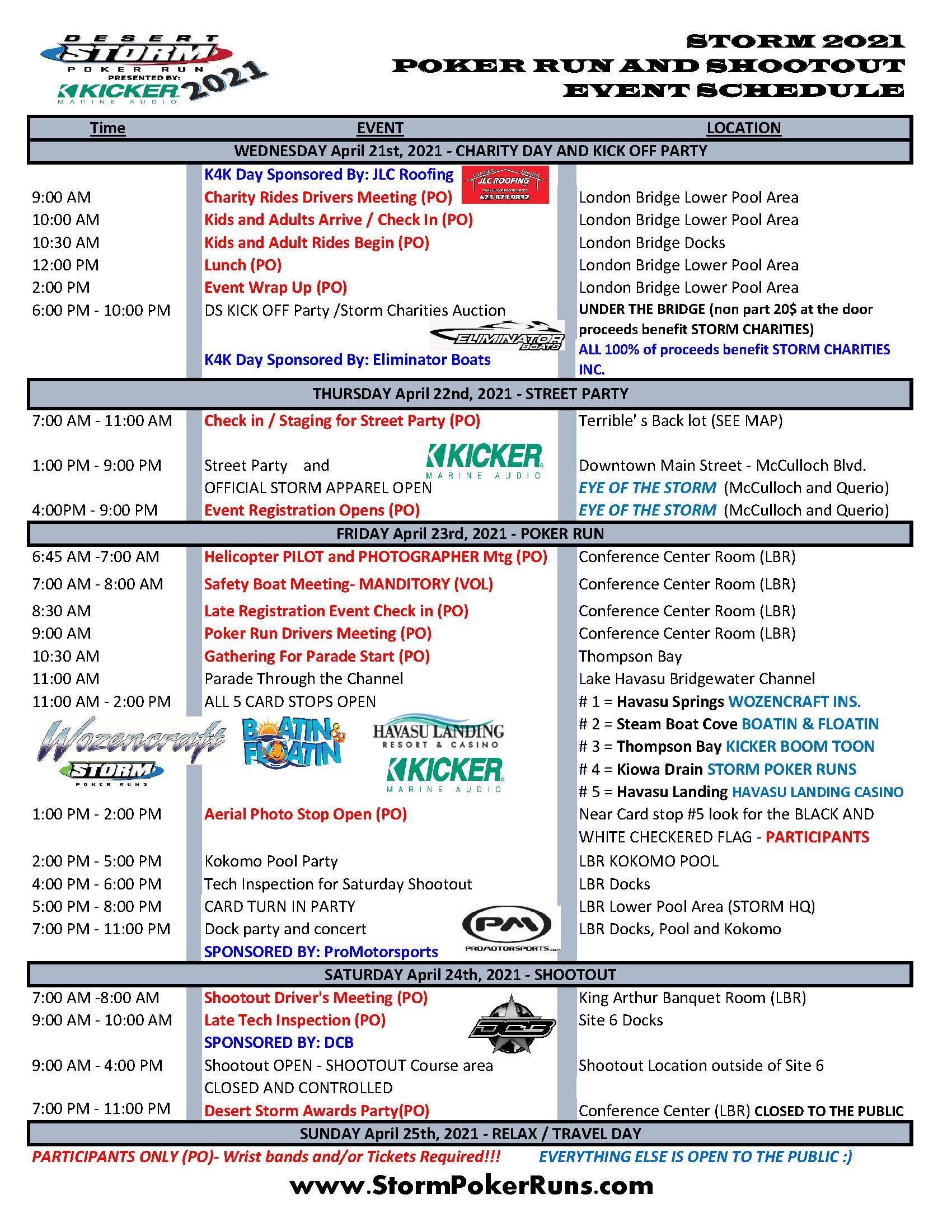 Desert Storm Poker Run and Shootout 2021 Event Schedule